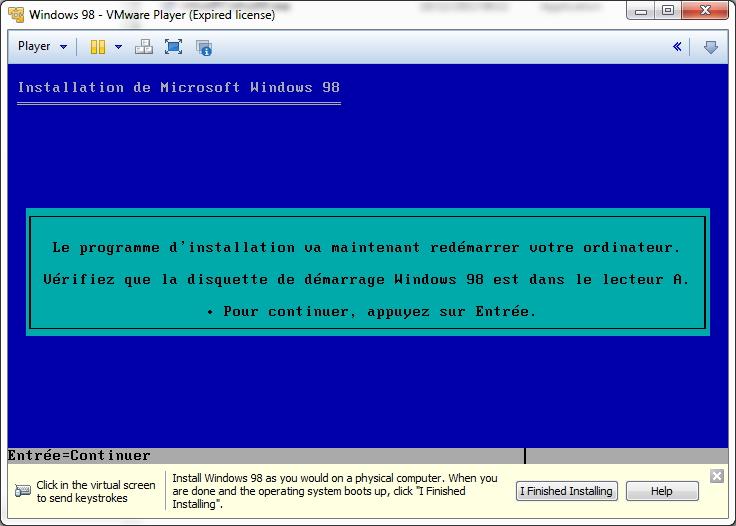 Installer un windows 98 sous VMWare player - Le blog du pangolin